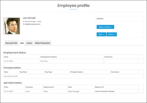 WP-HR Manager Employee Profile Job Tab