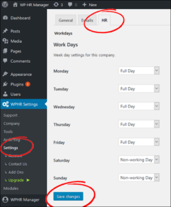 Set Up Settings Screen Shot 1 - Work Days