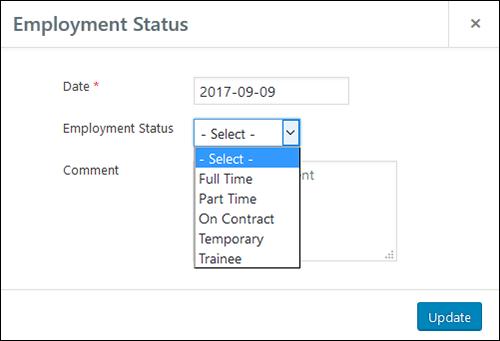 Employee Screen Shot 06 - New Employe Edit Job Tab Status