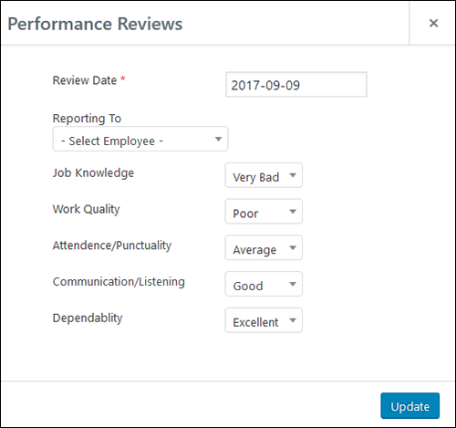 Employee Screen Shot 06 - New Employe Edit Performance Tab Performance Pop Up