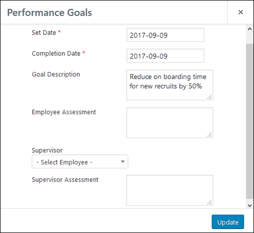 Employee Screen Shot 06 - New Employe Edit Performance Tab Goals Pop Up