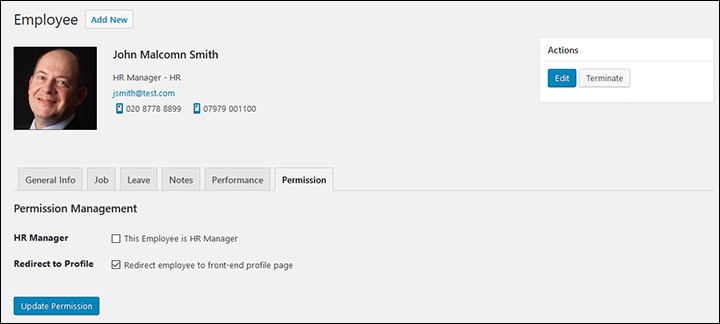 Employee Screen Shot 06 - New Employe Edit Permissions Tab