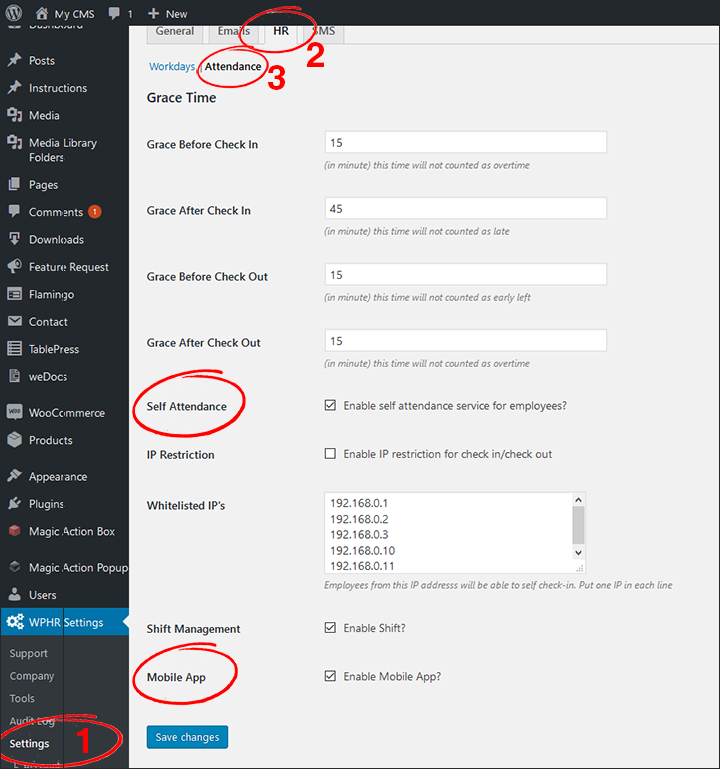 Checkin-002-Settings-Attendance - WP-HR Manager