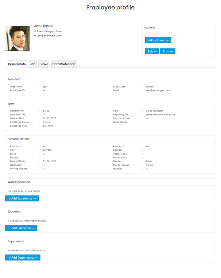WP-HR Manager Employee Profile General Tab