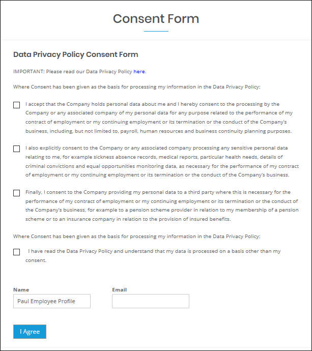 WP-HR GDPR - Consent Form Front End Display