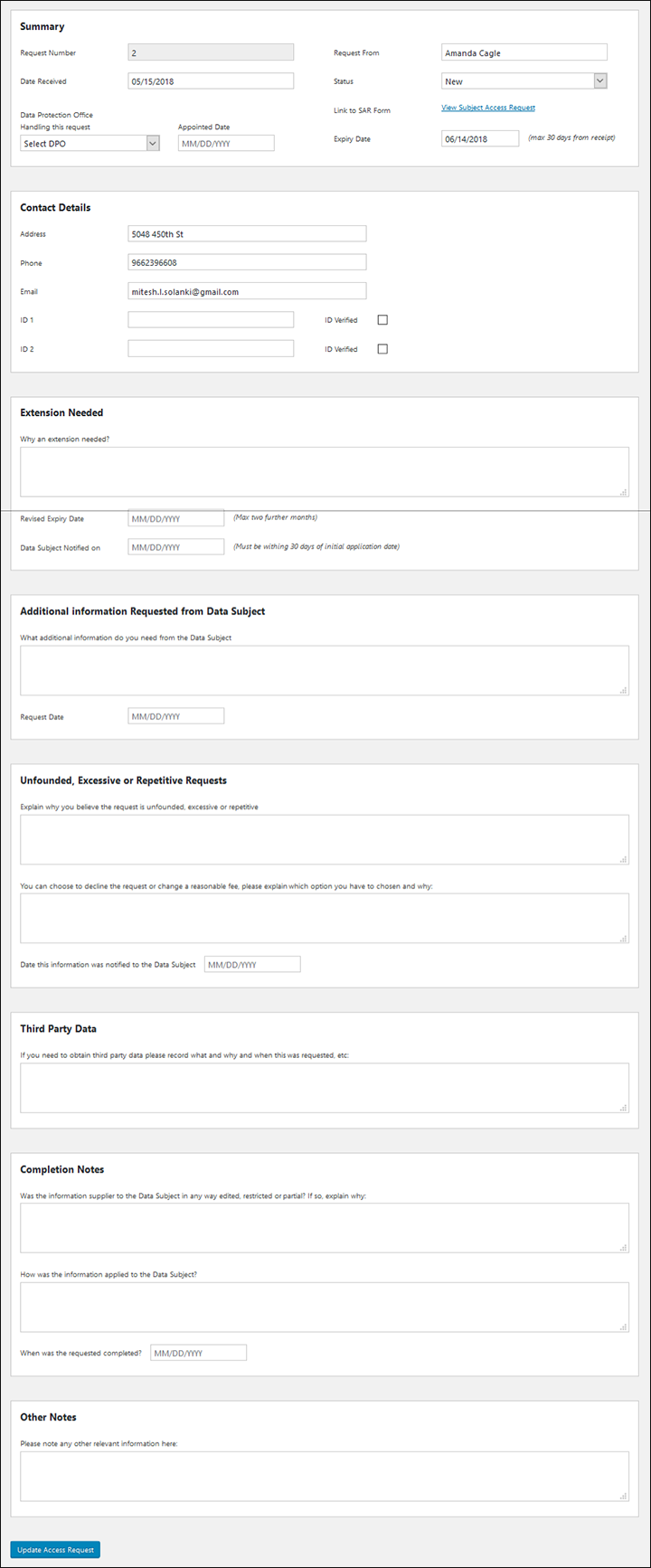 WP-HR GDPR Subject Access Request Register Details