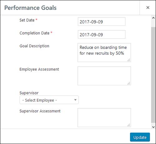 Employee Screen Shot 06 - New Employe Edit Performance Tab Goals Pop Up