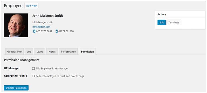 Employee Screen Shot 06 - New Employe Edit Permissions Tab